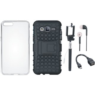 Moto E4 Shockproof Tough Armour Defender Case with Silicon Back Cover, Selfie Stick, Earphones and OTG Cable