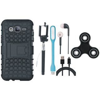 Moto E4 Shockproof Tough Armour Defender Case with Spinner, Selfie Stick, Earphones, USB LED Light and USB Cable