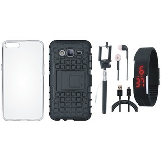 Moto E4 Shockproof Tough Armour Defender Case with Silicon Back Cover, Selfie Stick, Digtal Watch, Earphones and USB Cable