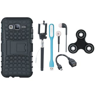 Moto E4 Shockproof Tough Armour Defender Case with Spinner, Selfie Stick, Earphones, OTG Cable and USB LED Light