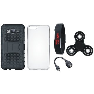 Moto E4 Shockproof Kick Stand Defender Back Cover with Spinner, Silicon Back Cover, Digital Watch and OTG Cable