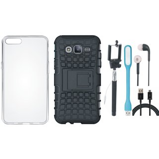 Moto E4 Shockproof Tough Armour Defender Case with Silicon Back Cover, Selfie Stick, Earphones, USB LED Light and USB Cable