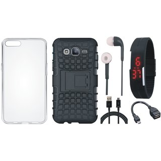 Motorola Moto E4 Defender Back Cover with Kick Stand with Silicon Back Cover, Digital Watch, Earphones, OTG Cable and USB Cable