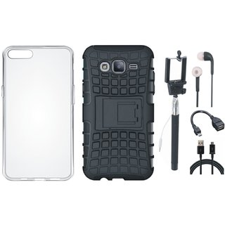 Motorola Moto E4 Defender Back Cover with Kick Stand with Silicon Back Cover, Selfie Stick, Earphones, OTG Cable and USB Cable