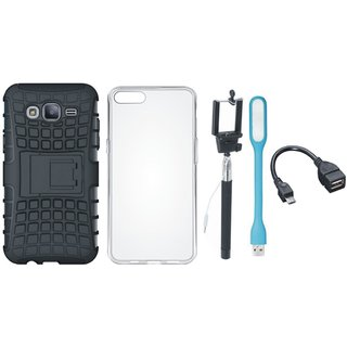 Motorola Moto E4 Shockproof Tough Defender Cover with Silicon Back Cover, Selfie Stick, LED Light and OTG Cable