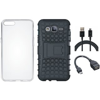 Moto C Shockproof Tough Armour Defender Case with Silicon Back Cover, OTG Cable and USB Cable
