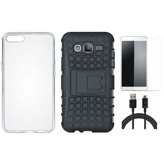 Moto C Shockproof Tough Armour Defender Case with Silicon Back Cover, Tempered Glass and USB Cable