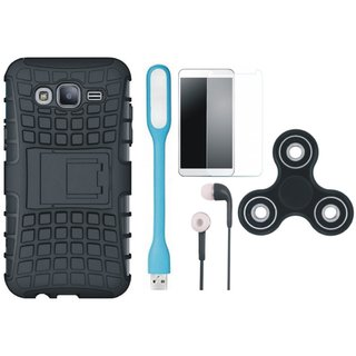 Moto C Shockproof Tough Armour Defender Case with Spinner, Tempered Glass, Earphones and USB LED Light