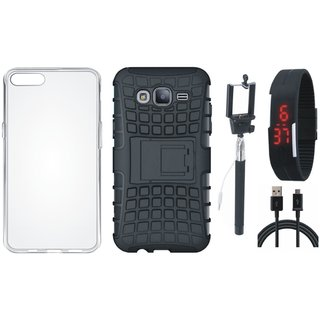 Moto C Shockproof Tough Armour Defender Case with Silicon Back Cover, Selfie Stick, Digtal Watch and USB Cable