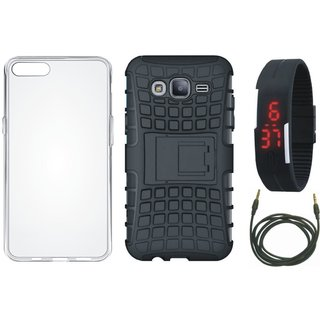 Moto C Shockproof Tough Armour Defender Case with Silicon Back Cover, Digital Watch and AUX Cable