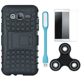 Moto C Shockproof Tough Armour Defender Case with Spinner, Tempered Glas and USB LED Light