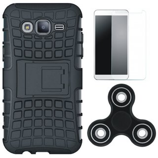 Moto C Shockproof Tough Armour Defender Case with Spinner, Tempered Glass