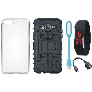 Moto C Shockproof Tough Armour Defender Case with Silicon Back Cover, Digital Watch, OTG Cable and USB LED Light