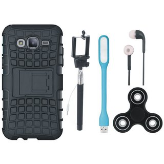 Moto C Shockproof Tough Armour Defender Case with Spinner, Selfie Stick, Earphones and USB LED Light