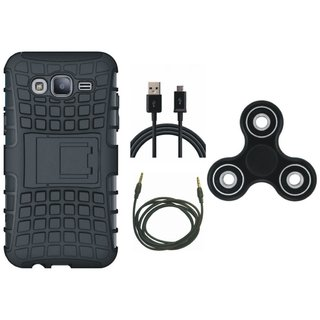 Moto C Shockproof Tough Armour Defender Case with Spinner, USB Cable and AUX Cable