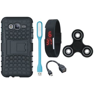 Moto C Shockproof Tough Armour Defender Case with Spinner, Digital Watch, OTG Cable and USB LED Light