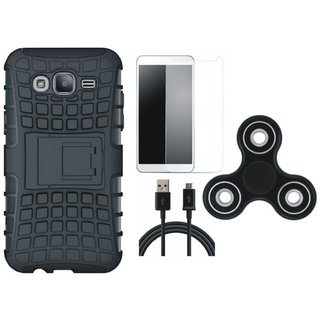 Moto C Shockproof Tough Armour Defender Case with Spinner, Tempered Glass and USB Cable