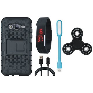 Moto C Shockproof Tough Armour Defender Case with Spinner, Digital Watch, USB LED Light and USB Cable