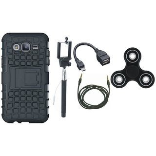 Motorola Moto E4 Shockproof Tough Defender Cover with Spinner, Selfie Stick, OTG Cable and AUX Cable