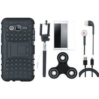 Moto C Shockproof Tough Armour Defender Case with Free Spinner, Selfie Stick, Tempered Glass, Earphones and USB Cable