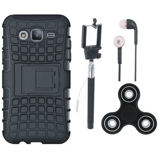 Motorola Moto E4 Shockproof Tough Defender Cover with Spinner, Selfie Stick and Earphones