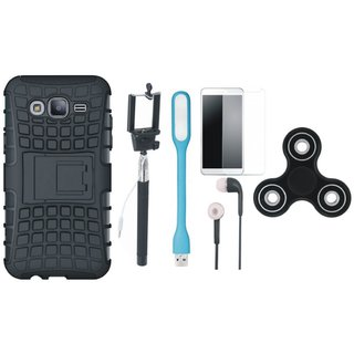 Motorola Moto E4 Shockproof Tough Defender Cover with Free Spinner, Selfie Stick, Tempered Glass, Earphones and LED Light