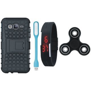 Motorola Moto E4 Shockproof Tough Defender Cover with Spinner, Digital Watch and USB LED Light