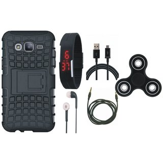 Moto C Shockproof Tough Armour Defender Case with Spinner, Digital Watch, Earphones, USB Cable and AUX Cable