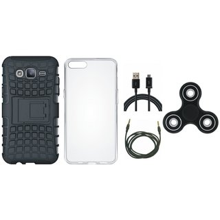 Moto C Shockproof Tough Armour Defender Case with Spinner, Silicon Back Cover, USB Cable and AUX Cable