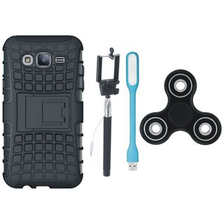 Moto C Shockproof Tough Armour Defender Case with Spinner, Selfie Stick and USB LED Light