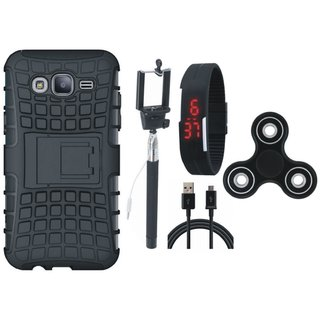 Moto C Shockproof Tough Armour Defender Case with Spinner, Selfie Stick, Digtal Watch and USB Cable