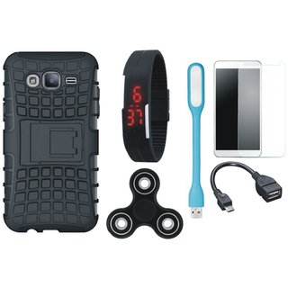 Moto C Shockproof Tough Armour Defender Case with Free Spinner, Digital LED Watch, Tempered Glass, LED Light and OTG Cable