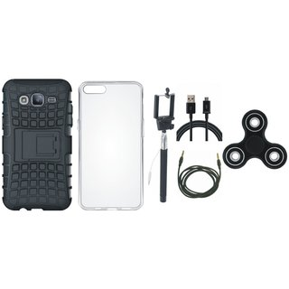 Moto C Shockproof Tough Armour Defender Case with Spinner, Silicon Back Cover, Selfie Stick, USB Cable and AUX Cable