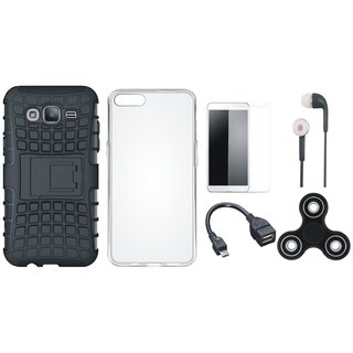 Moto C Shockproof Tough Armour Defender Case with Spinner, Silicon Back Cover, Tempered Glass, Earphones and OTG Cable