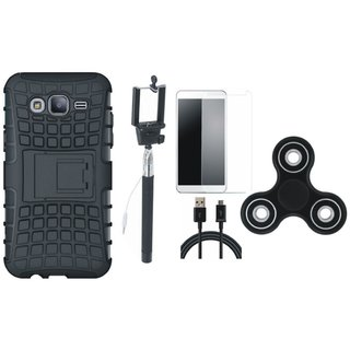 Moto C Plus Shockproof Tough Defender Cover with Free Spinner, Selfie Stick, Tempered Glass and USB Cable