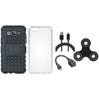 Moto C Shockproof Tough Armour Defender Case with Spinner, Silicon Back Cover, OTG Cable and USB Cable