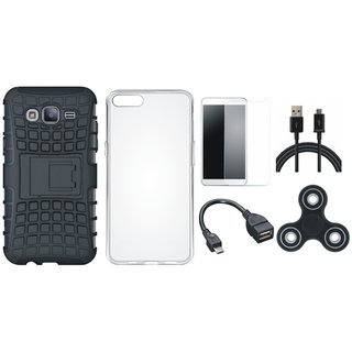 Moto C Shockproof Tough Armour Defender Case with Spinner, Silicon Back Cover, Tempered Glass, OTG Cable and USB Cable