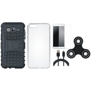Moto C Shockproof Tough Armour Defender Case with Spinner, Silicon Back Cover, Tempered Glass and USB Cable