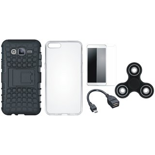 Moto C Shockproof Tough Armour Defender Case with Spinner, Silicon Back Cover, Tempered Glass and OTG Cable