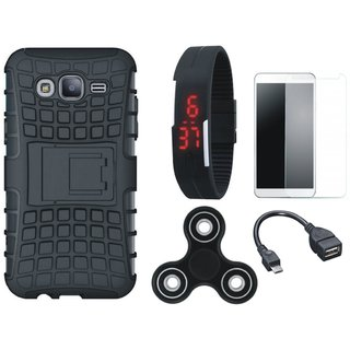 Moto C Plus Shockproof Tough Defender Cover with Free Spinner, Digital LED Watch, Tempered Glass and OTG Cable