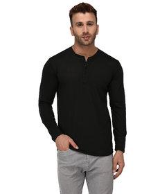 Adorbs Solid Men's Henley Black T-Shirt