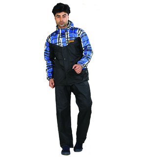 Mens Duster Checks Reversible Rain Suit