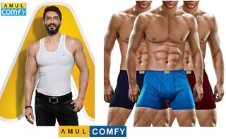 (PACK OF 5) AMUL COMFY Sleeveless Vests - White + (PACK OF 5) Cotton Underwear - Multi-Color