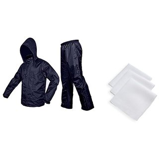 Blue RainCoat With Lower And Cap + 3 Pc Of White Handkerchief For Mens