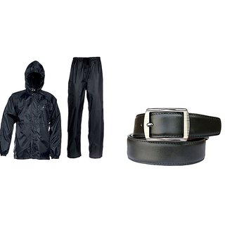 Combo Of Black Rain Coat With Lower And Cap + Leatherite Black Belt For Mens
