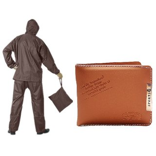 Brown Rain Coat With Lower And Cap + Brown Sport Wallet Combo For Mens