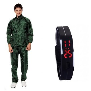 Unique Collection Mens Green RainCoat With Lower And Cap +  Led Watch Combo
