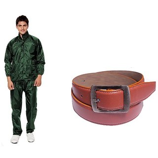 Unique Collection Mens Green RainCoat With Lower And Cap + Leatherite Tan Belt Combo