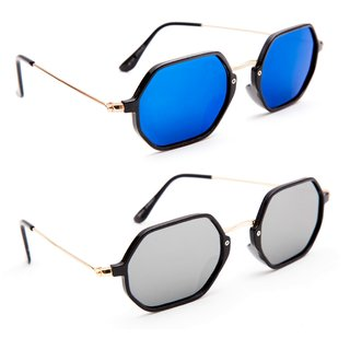 987a32f01b Buy TheWhoop Combo UV Protected New Trendy Mirror Blue And Silver Goggle  Round Sunglasses For Men