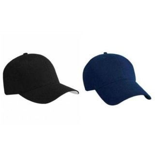 0a3b20c51d9 Buy Tahiro Black And Blue Cotton Plain Cap - Pack Of 2 Online - Get 40% Off